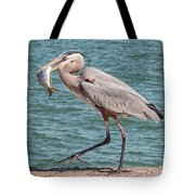 Great Blue Heron Walking With Fish #4 Tote Bag