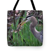 Great Blue Heron With His Catch Tote Bag