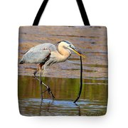 Great Blue Heron Wrestles A Snake Tote Bag