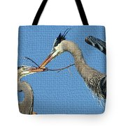 Great Blue Herons Build A Nest Tote Bag