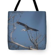 Great Blue In Flight Tote Bag