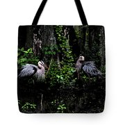 Great Blue Standoff In Watercolor Tote Bag