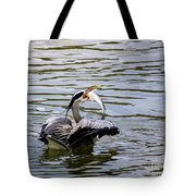 Great Blue With A Drum Tote Bag
