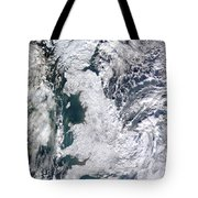 Great Britain Snowy Tote Bag by Artistic Panda