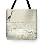Great Egret Aka Great White Grey Heron In Maldives Tote Bag