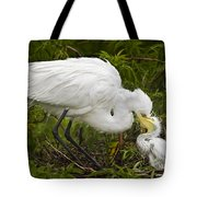 Great Egret And Chick Tote Bag