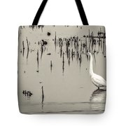Great Egret At Horicon - B - W  Tote Bag