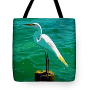 Great Egret Emerald Sea Tote Bag