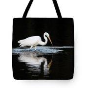 Great Egret Fishing In Early Morning Tote Bag