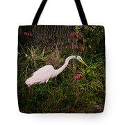 Great Egret In The Garden Tote Bag