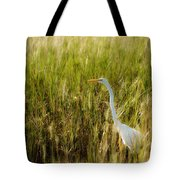 Great Egret In The Morning Dew Tote Bag