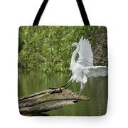 Great Egret Landing Tote Bag