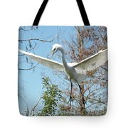 Great Egret Over The Treetops Tote Bag
