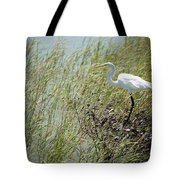 Great Egret Through Reeds Tote Bag