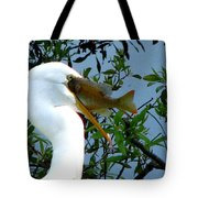 Great Egret With Catch 2 Tote Bag