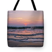 Great Fountain Geyser Sunset Reflections Tote Bag