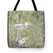 Great Heron With Mouth Open Tote Bag