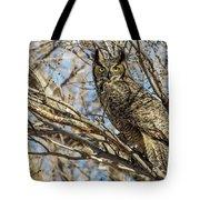 Great Horned Owl In Cottonwood Tree Tote Bag