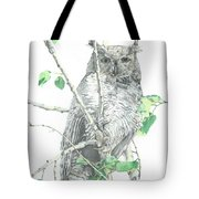 Great Horned Owl Perched In A Tree Tote Bag