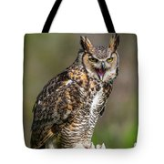 Great Horned Owl Screeching Tote Bag