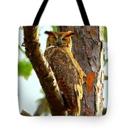 Great Horned Owl Wink Tote Bag