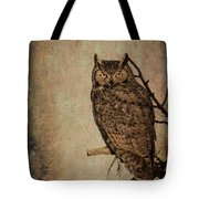 Great Horned Owl With Textures Tote Bag