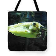 Great Longhorn Cowfish Swimming Along Underwater Tote Bag
