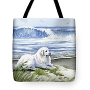 Great Pyrenees At The Beach Tote Bag