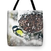 Great Tit In The Snow Card Tote Bag