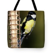 Great Tit On Feeder  Tote Bag