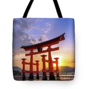 Great Torii Of Miyajima At Sunset Tote Bag