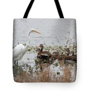 Great White Egret And Ducks Tote Bag