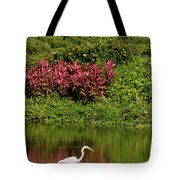 Great White Egret Fishing In A Pond With Tropical Plants And Sie Tote Bag