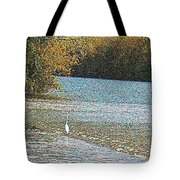 Great White Egret Fishing  Tote Bag