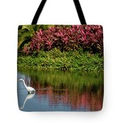 Great White Egret Hunting In A Pond In Mexico With Iguana And Re Tote Bag