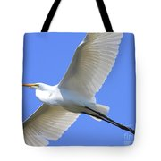 Great White Egret In Flight . 40d6850 Tote Bag