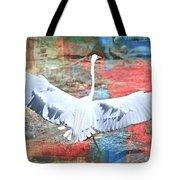 Great White Egret Landing Tote Bag