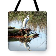 Great White On Row Boat Tote Bag