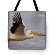 Great White Pelican In Flight Tote Bag