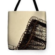 Great White Roller Coaster - Adventure Pier Wildwood Nj In Sepia Triptych 1 Tote Bag