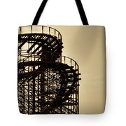 Great White Roller Coaster - Adventure Pier Wildwood Nj In Sepia Triptych 3 Tote Bag