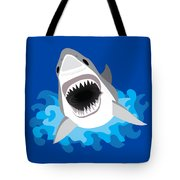 Great White Shark Leaps From Waves Tote Bag
