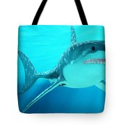 Great White Shark With Sunrays Tote Bag