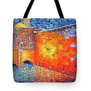 Wailing Wall Greatness In The Evening Jerusalem Palette Knife Painting Tote Bag