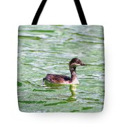 Grebe On Green Water Tote Bag