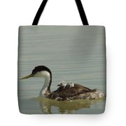Grebe With Two Chicks On Its Back Tote Bag