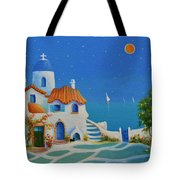 Greek Blue Santorini A Greek Fairytale Tote Bag
