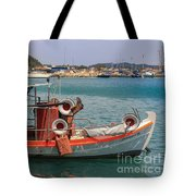Greek Boat And Boots Tote Bag