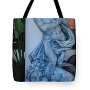Greek Dude And Lion In Blue Tote Bag