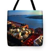 Greek Food At Santorini Tote Bag by David Smith